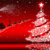 Santa Claus & Christmas tree on red background
